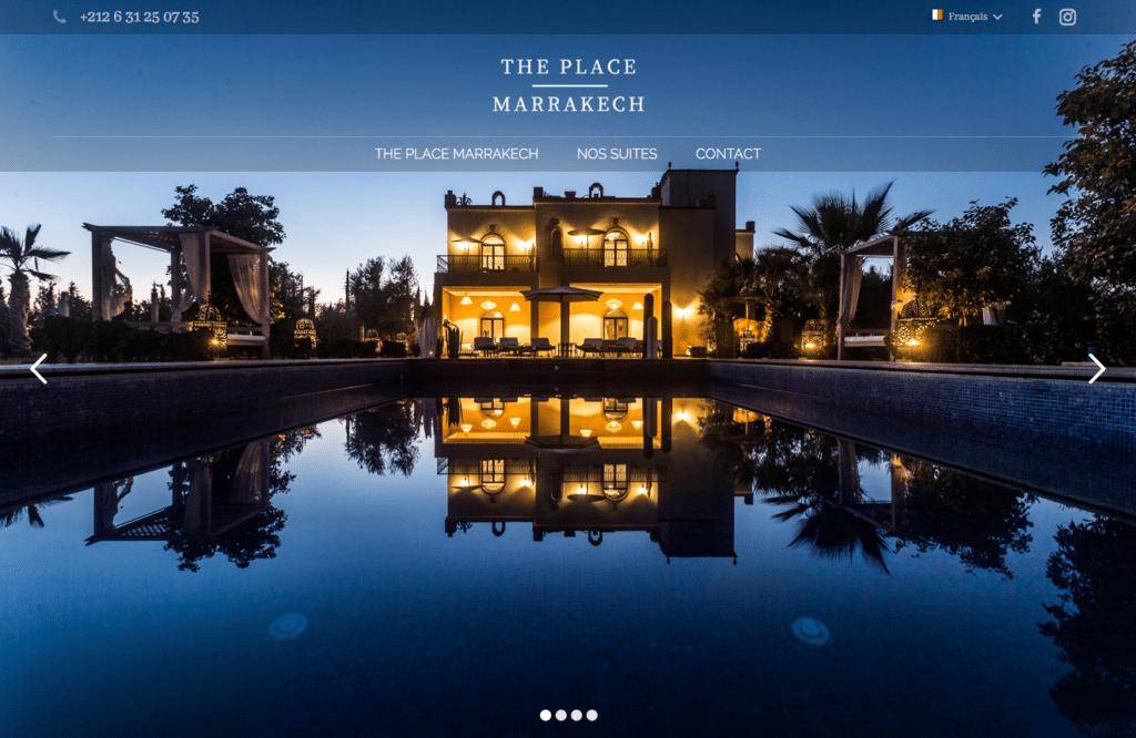 Création de site web chambres d'hôtes – suites à Marrakech : The Place Marrakech